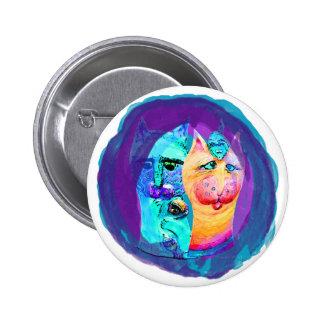 Diseño colorido del gato de los gatos y de los chapa redonda 5 cm