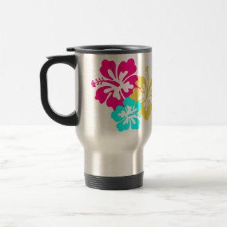 Diseño colorido del hibisco taza de viaje