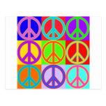 Diseño colorido del signo de la paz tarjeta postal