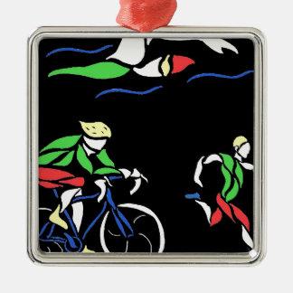 Diseño colorido del Triathlon Adorno Cuadrado Plateado