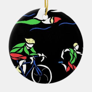 Diseño colorido del Triathlon Adorno Redondo De Cerámica