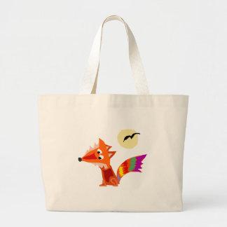 Diseño colorido enrrollado del arte del Fox rojo Bolsa Tela Grande