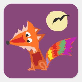 Diseño colorido enrrollado del arte del Fox rojo Pegatina Cuadrada