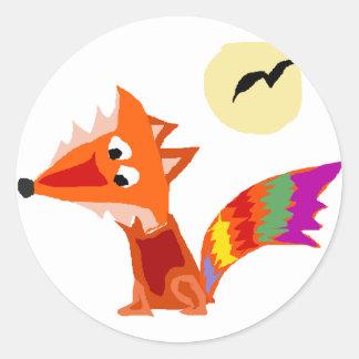 Diseño colorido enrrollado del arte del Fox rojo Pegatina Redonda