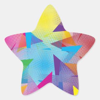 Diseño colorido fresco pegatina en forma de estrella