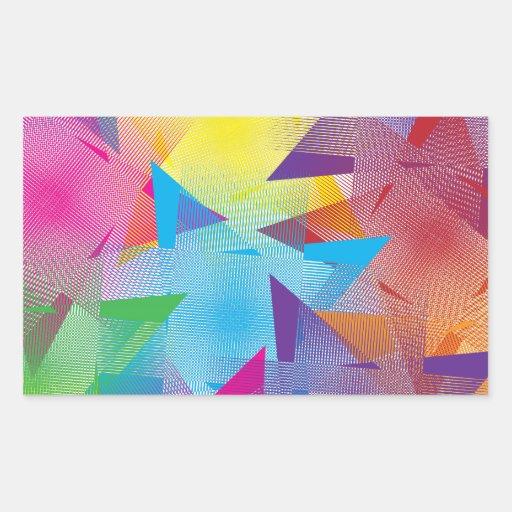 Diseño colorido fresco pegatina rectangular