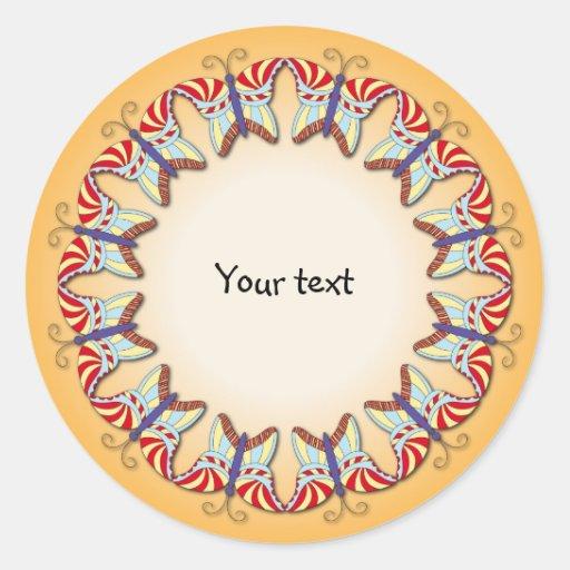Diseño colorido lindo de la frontera de la pegatinas redondas