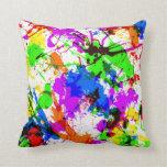 Diseño colorido lindo de la pintura de la salpicad cojines