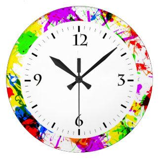 Diseño colorido lindo de la pintura de la salpicad reloj de pared