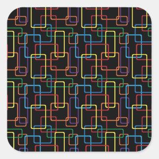 Diseño colorido retro de Digitaces del rectángulo Pegatina Cuadrada