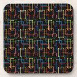 Diseño colorido retro de Digitaces del rectángulo Posavasos De Bebidas
