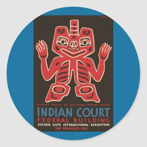 Diseño combinado de los indios del Haida Pegatina Redonda