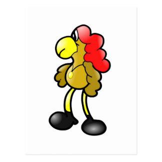 Diseño cómico del gallo postal