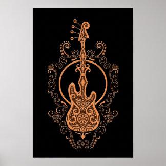 Diseño complejo de la guitarra baja de Brown en ne Póster