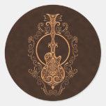 Diseño complejo de la guitarra de Brown Pegatina Redonda
