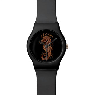 Diseño complejo del Seahorse de Brown en negro Reloj De Mano