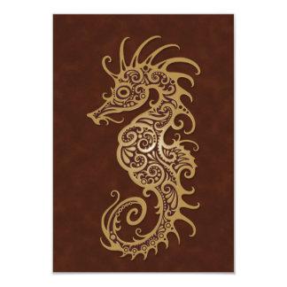 """Diseño complejo del Seahorse de Brown Invitación 3.5"""" X 5"""""""