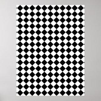 Diseño comprobado blanco y negro poster