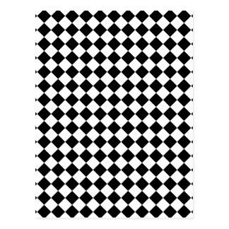 Diseño comprobado blanco y negro tarjetas postales
