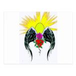 Diseño con alas del rosa con resplandor solar postales