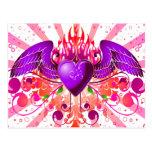Diseño con alas Grunge púrpura del corazón