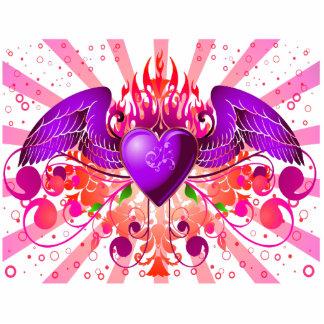 Diseño con alas Grunge púrpura del corazón Esculturas Fotográficas