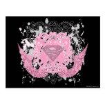 Diseño con alas rosa de Supergirl Tarjetas Postales