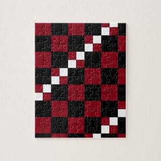Diseño con clase del tablero de damas del rojo y d rompecabeza