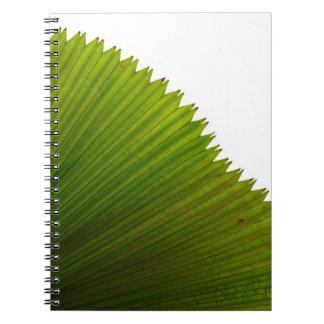 Diseño con la palma de fan verde spiral notebook