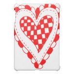 Diseño con volantes de los bordes del corazón rojo