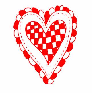 Diseño con volantes de los bordes del corazón rojo esculturas fotográficas