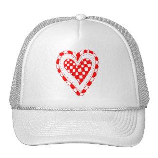 Diseño con volantes de los bordes del corazón rojo gorro