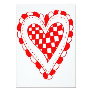 Diseño con volantes de los bordes del corazón rojo invitación 12,7 x 17,8 cm
