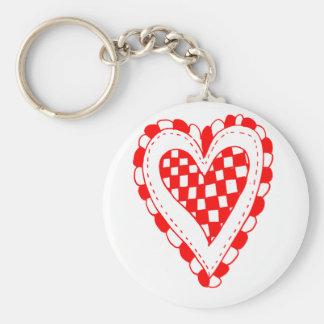 Diseño con volantes de los bordes del corazón rojo llaveros