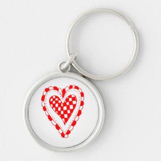 Diseño con volantes de los bordes del corazón rojo llavero