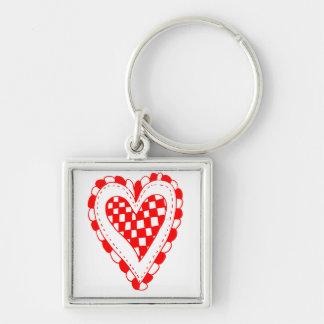 Diseño con volantes de los bordes del corazón rojo llavero personalizado