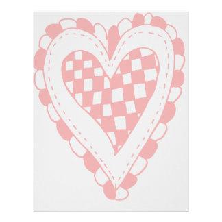 Diseño con volantes de los bordes del corazón rojo membrete a diseño