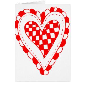 Diseño con volantes de los bordes del corazón rojo felicitacion