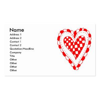 Diseño con volantes de los bordes del corazón rojo tarjeta de visita