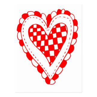 Diseño con volantes de los bordes del corazón rojo tarjetas postales