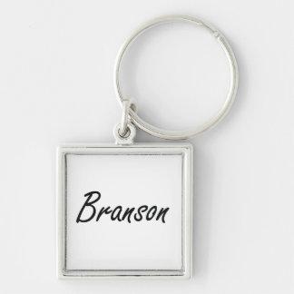 Diseño conocido artístico de Branson Llavero Cuadrado Plateado