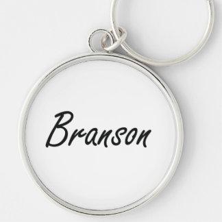Diseño conocido artístico de Branson Llavero Redondo Plateado