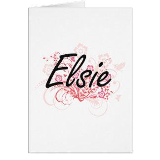Diseño conocido artístico de Elsie con las flores Tarjeta De Felicitación