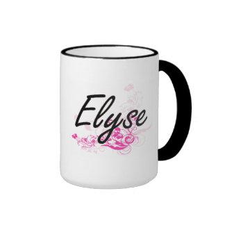 Diseño conocido artístico de Elyse con las flores Taza De Dos Colores
