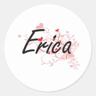 Diseño conocido artístico de Erica con los Pegatina Redonda