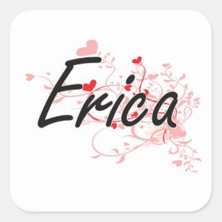 Diseño conocido artístico de Erica con los Pegatina Cuadrada