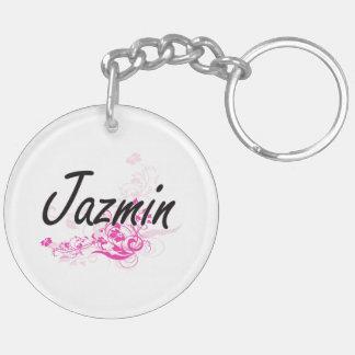 Diseño conocido artístico de Jazmin con las flores Llavero Redondo Acrílico A Doble Cara