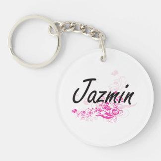 Diseño conocido artístico de Jazmin con las flores Llavero Redondo Acrílico A Una Cara