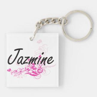 Diseño conocido artístico de Jazmine con las Llavero Cuadrado Acrílico A Doble Cara