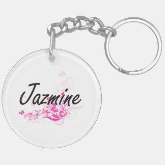 Diseño conocido artístico de Jazmine con las Llavero Redondo Acrílico A Doble Cara